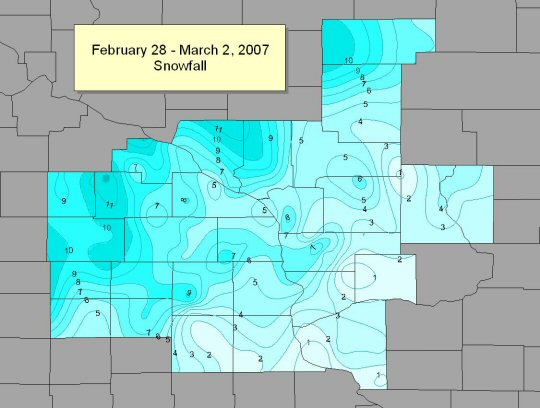 February 28 March 2 snowfall totals