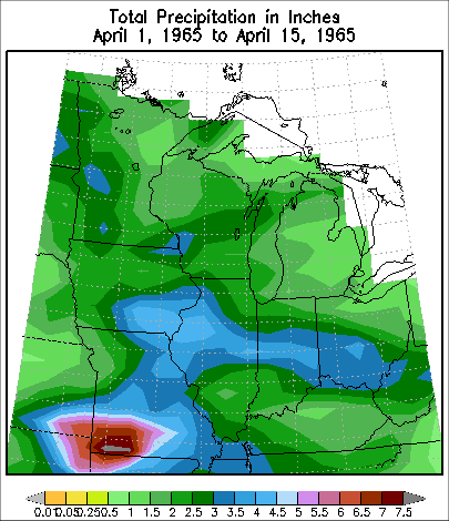 Precipitation from April 1 to April 15 1965