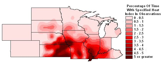 Percentage of observations with 100 degree heat indices