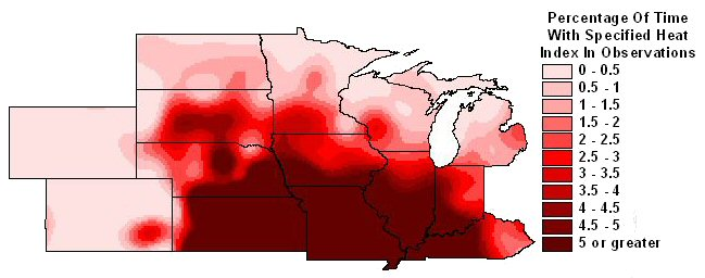 Percentage of observations with 95 degree heat indices