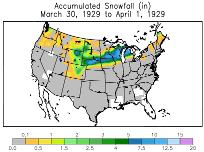 Snowfall from March 29 through April 1, 1929