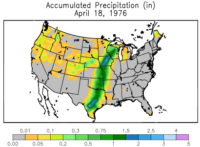 Precipitation on April 18, 1976