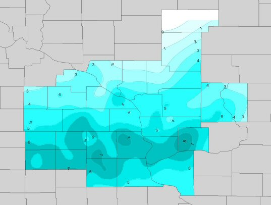 Snowfall map for January 21, 2007