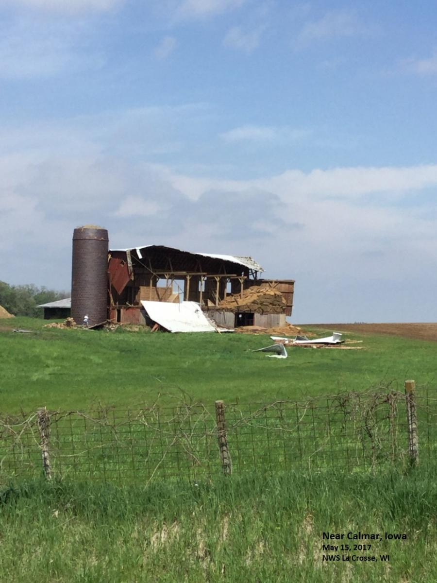 Wind Damage Near Calmar, IA