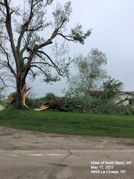 Wind Damage West of North Bend, WI