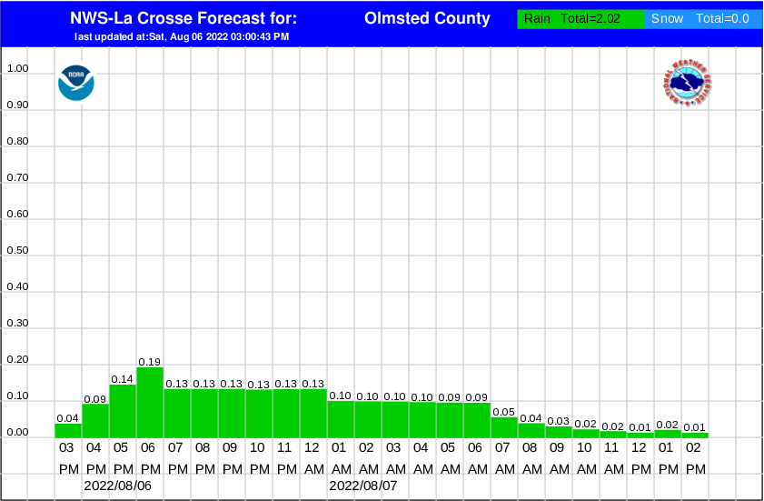 olmsted county hourly snowfall