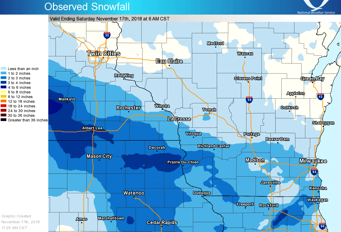 Summary Of November 16 17th Snowfall Totals
