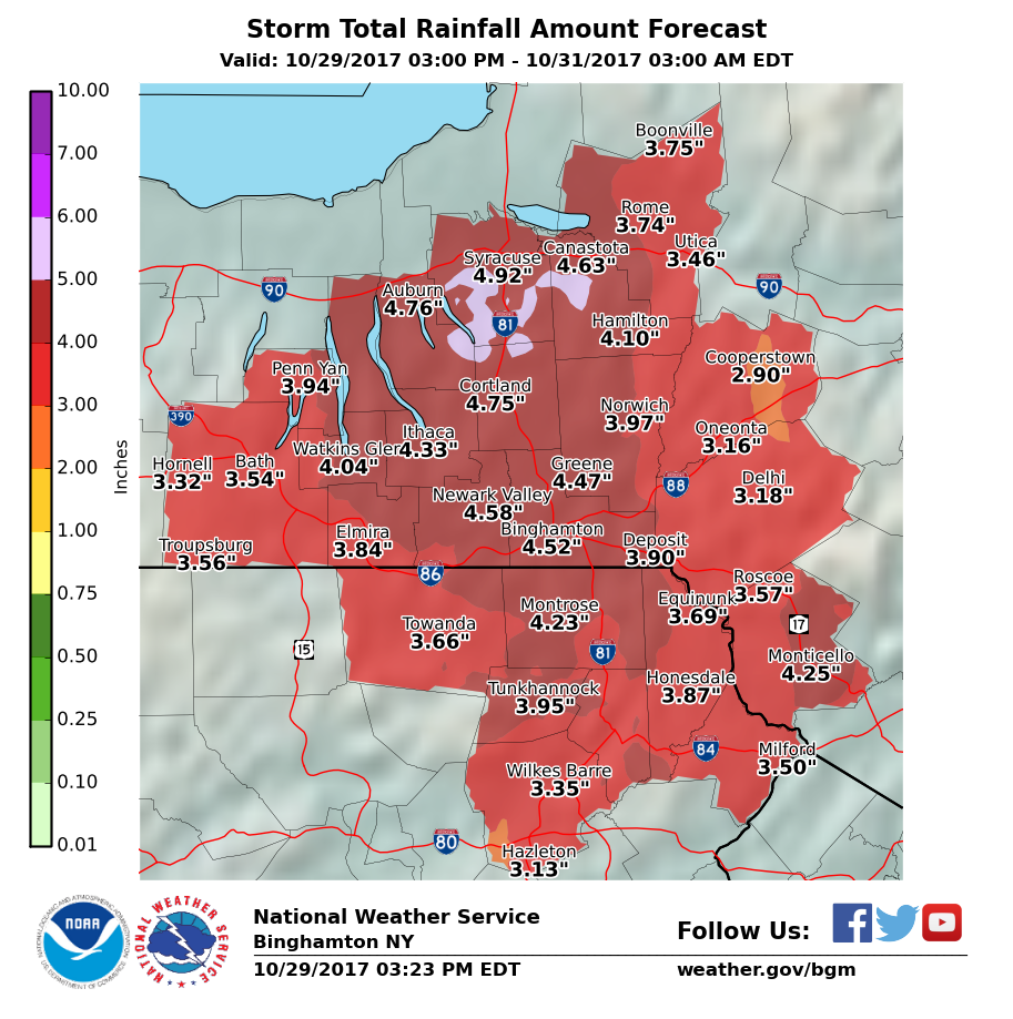 Forecast Storm Total Rainfall map in inches