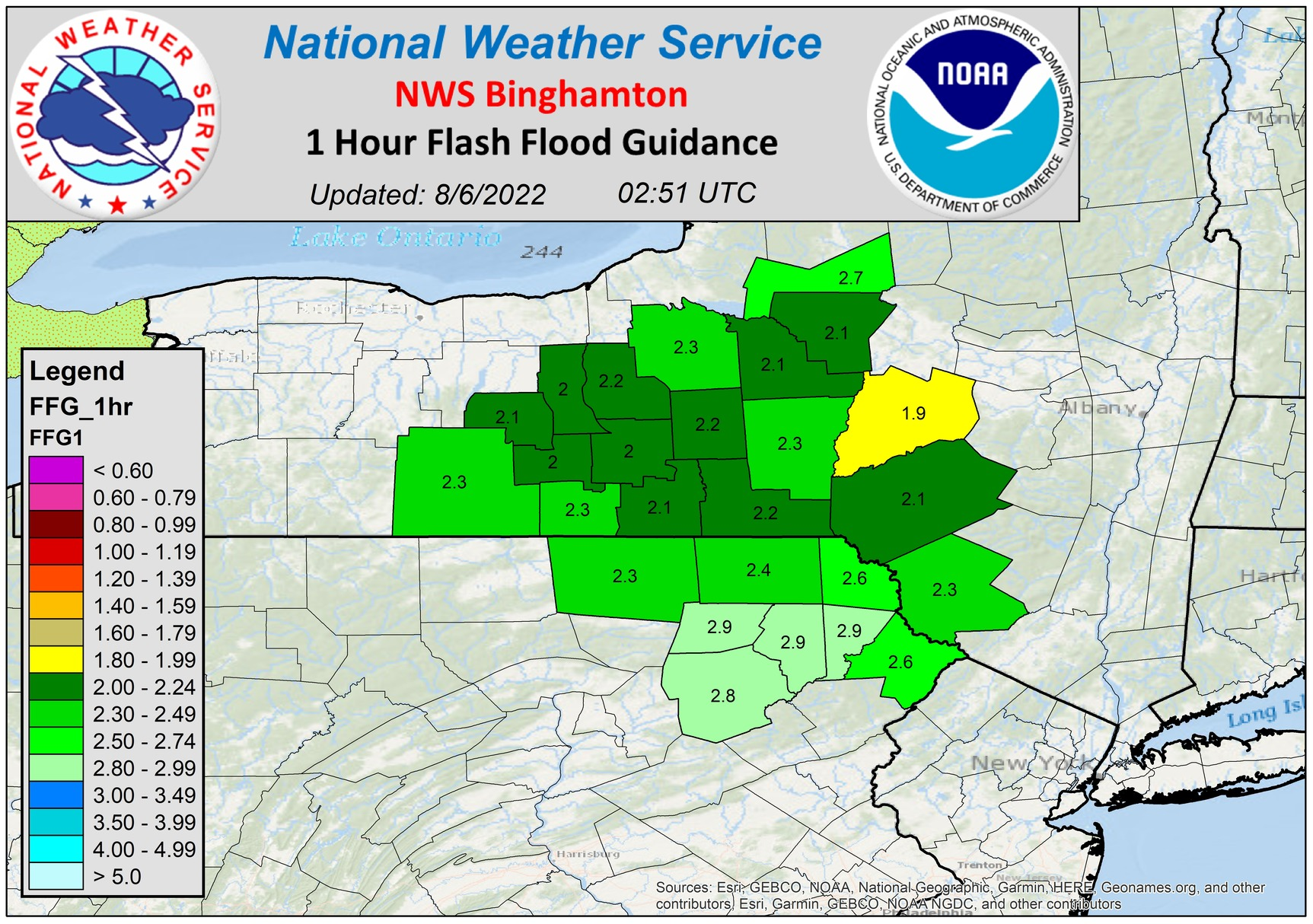 One hour flash flood guidance.