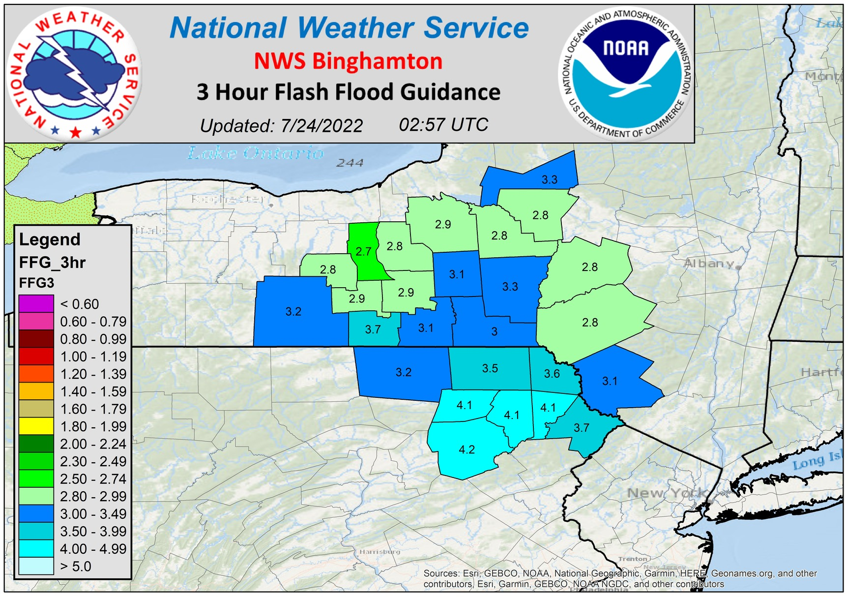 Three hour flash flood guidance.