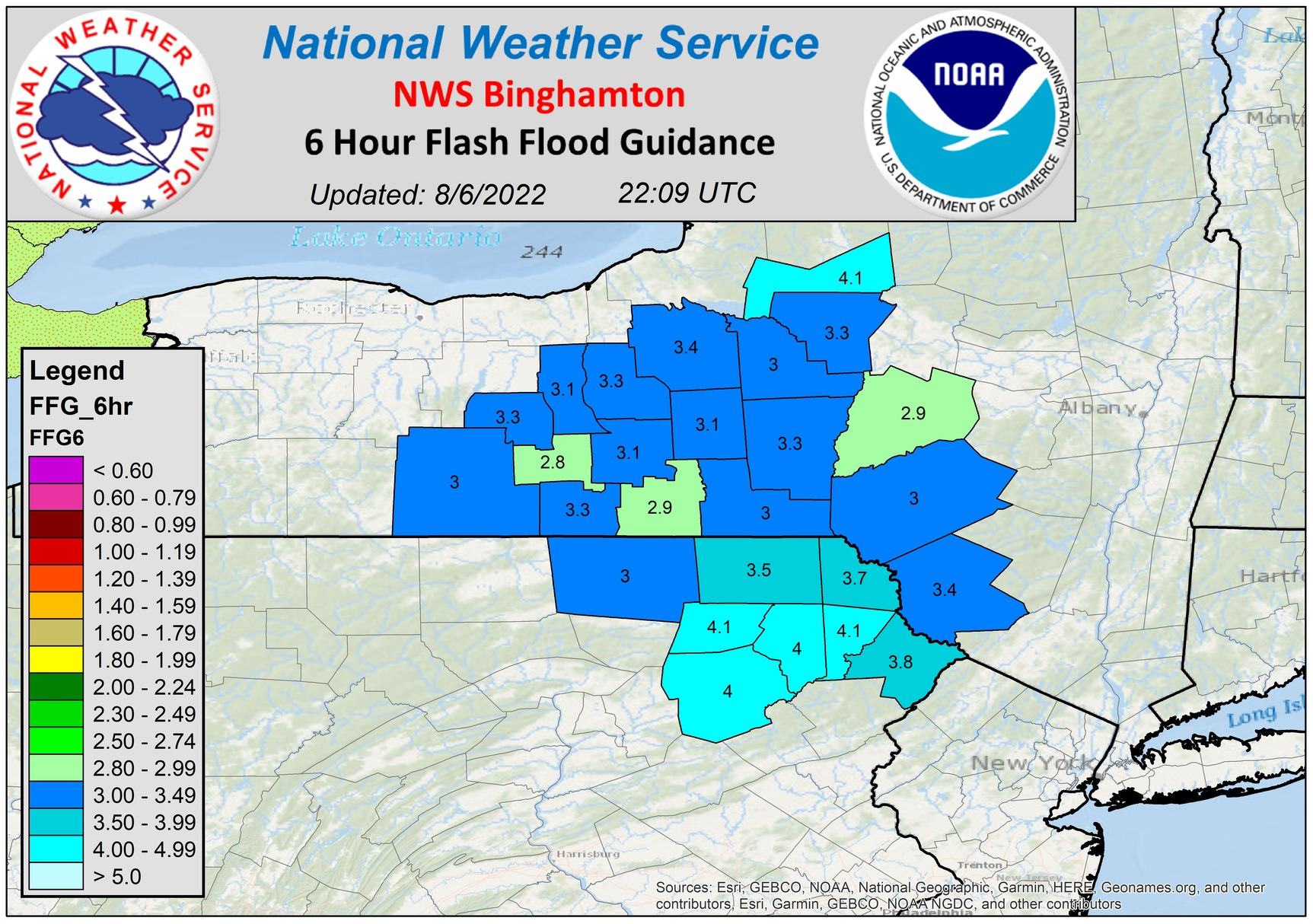 Six hour flash flood guidance.
