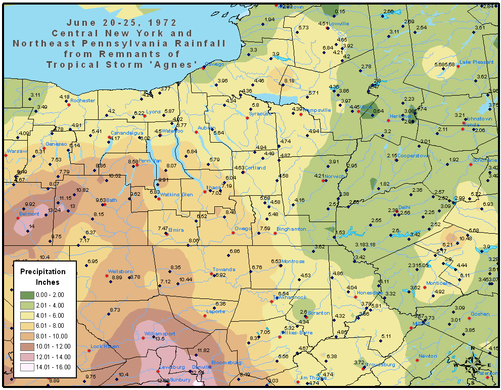 Rainfall amounts June 1972