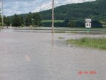 Susquehanna floodwater covering Route 41 near Afton, NY.
