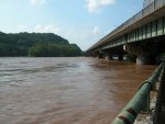 Delaware Water Gap I-80 Bridge a few hours after cresting at over 21 feet above normal.