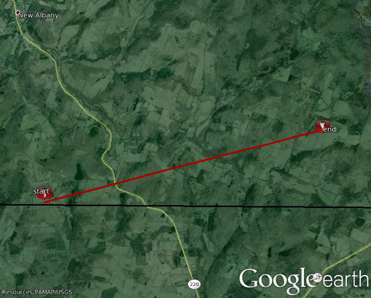 Map shows the approximate path of the tornado.