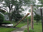 Power pole snapped in East Syracuse, NY