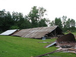 Roof off barn.