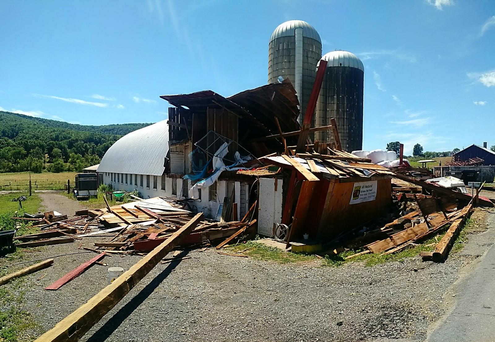 Barn damage on Marcy Hill Road Monroeton, PA