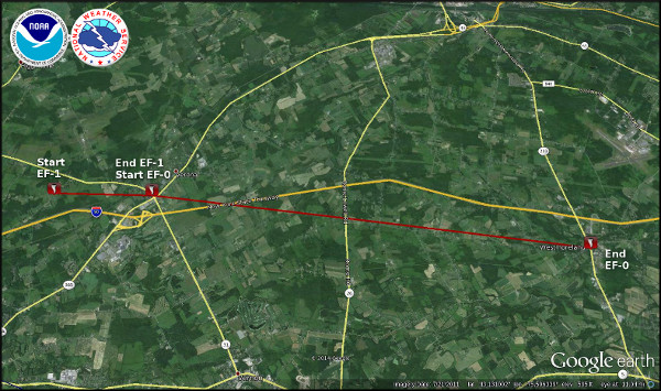 Map showing the approximate path of the Verona, NY tornado.  Click for a larger view.