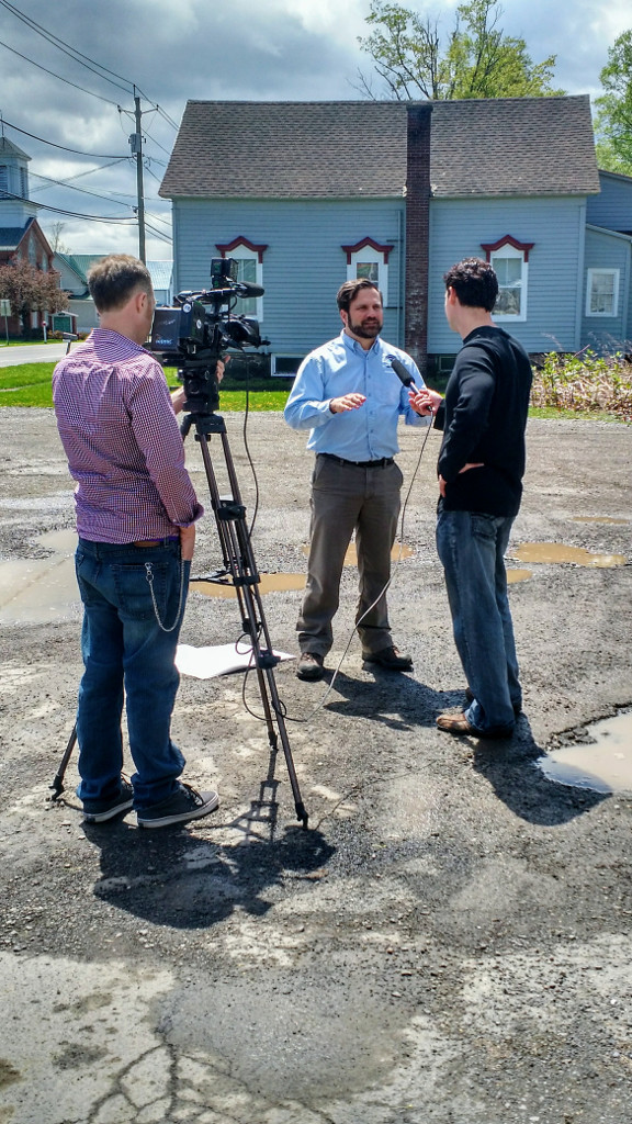 Forecaster Mark Pellerito conducting an interview in South New Berlin. He did a total of 4 interviews during the storm survey.