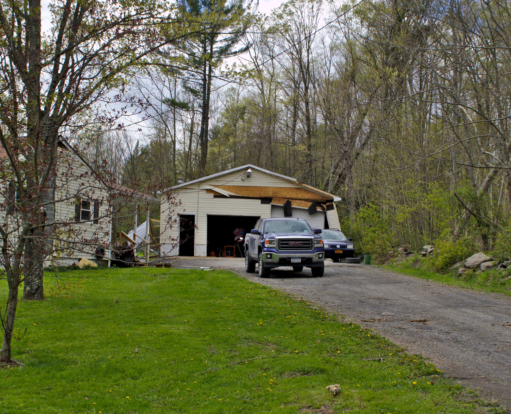 Damage to a garage near Oxford, NY