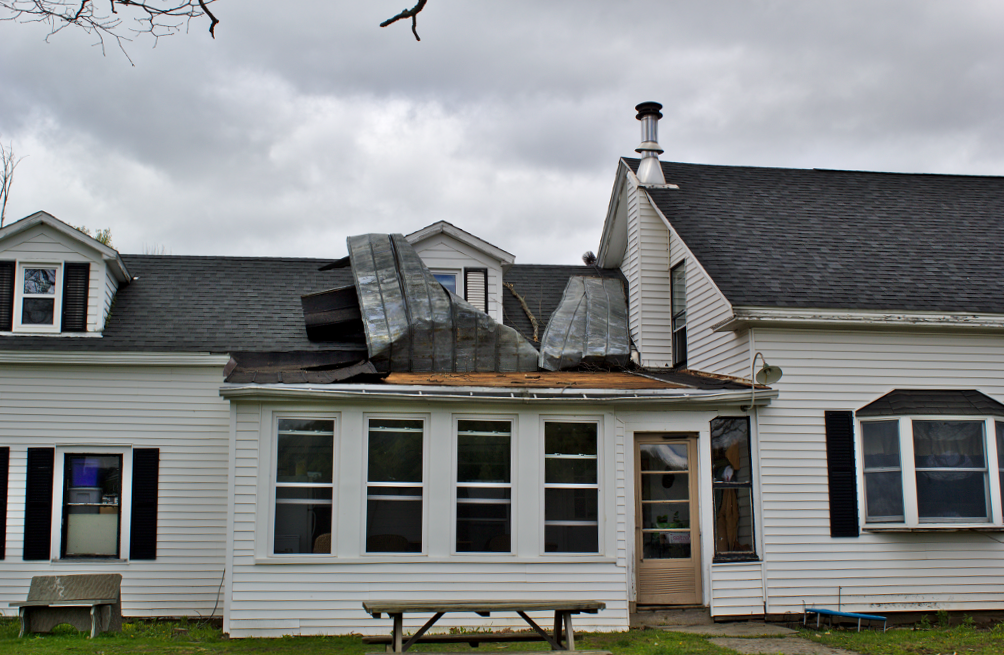 Peeled roof on house northeast of Oxford, NY