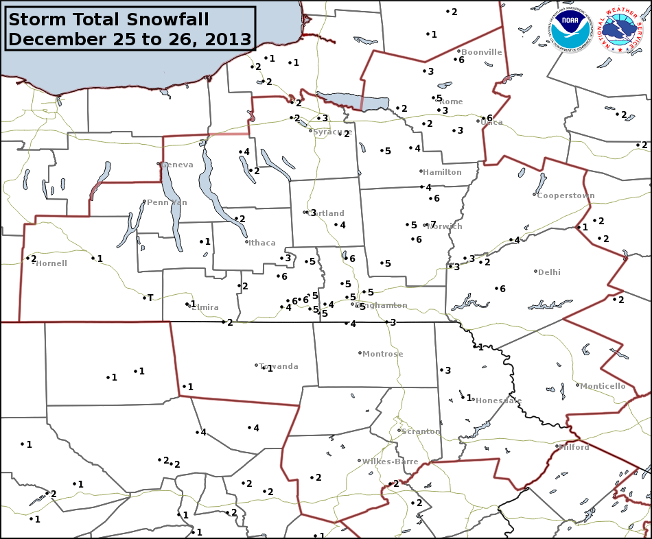 Storm Total Snowfall map December 25 to 26, 2013