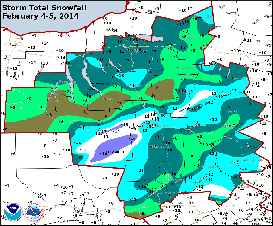 Storm total snowfall February 4-5, 2014