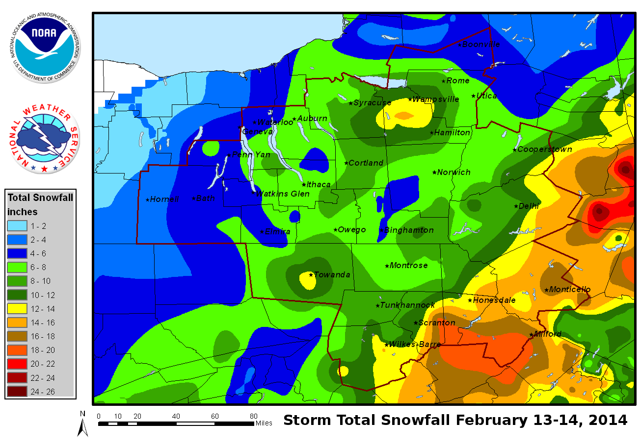 Storm Total Snowfall February 13-14, 2014