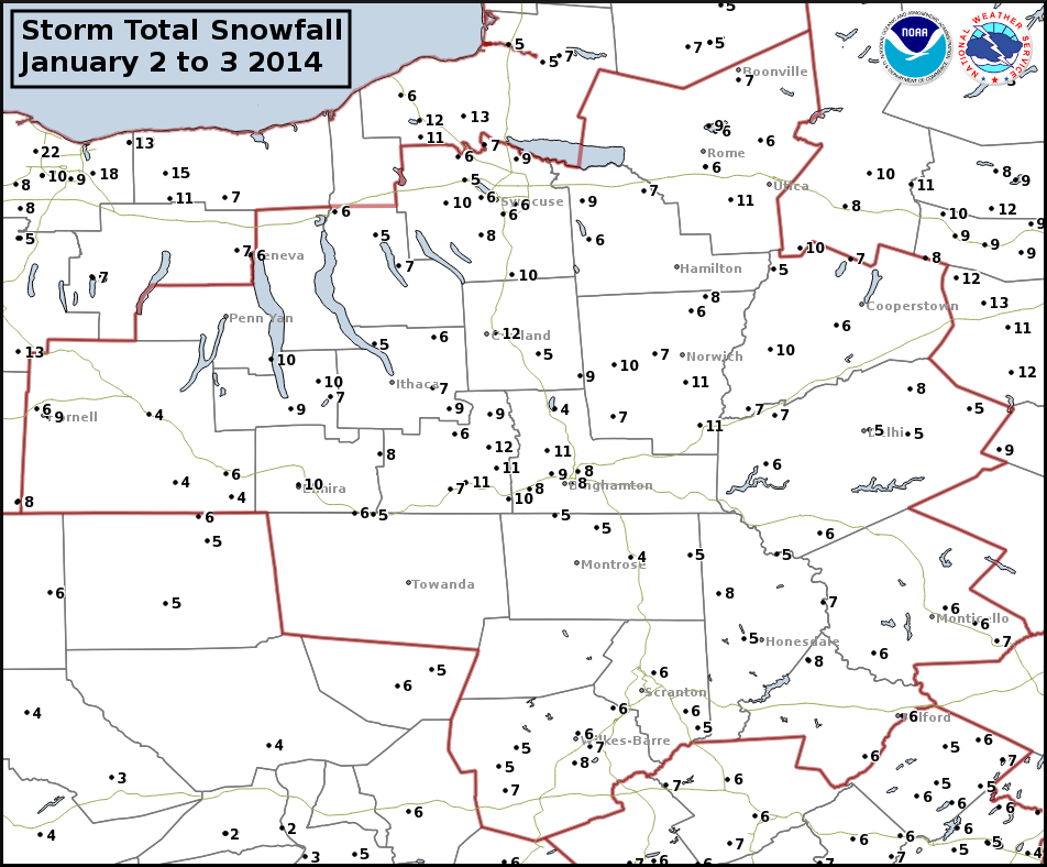 Storm Total Snowfall plot January 2 to 3, 2014