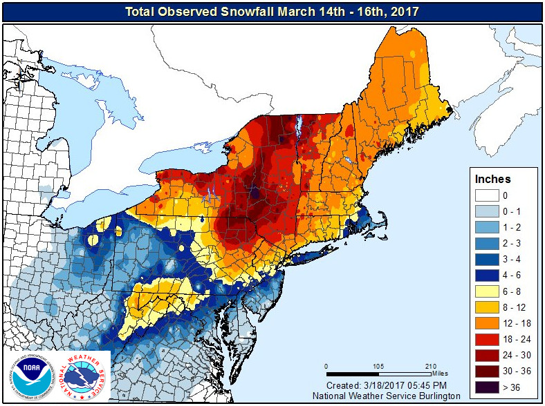 Overview of snowfall across the northeast March 14-16, 2017