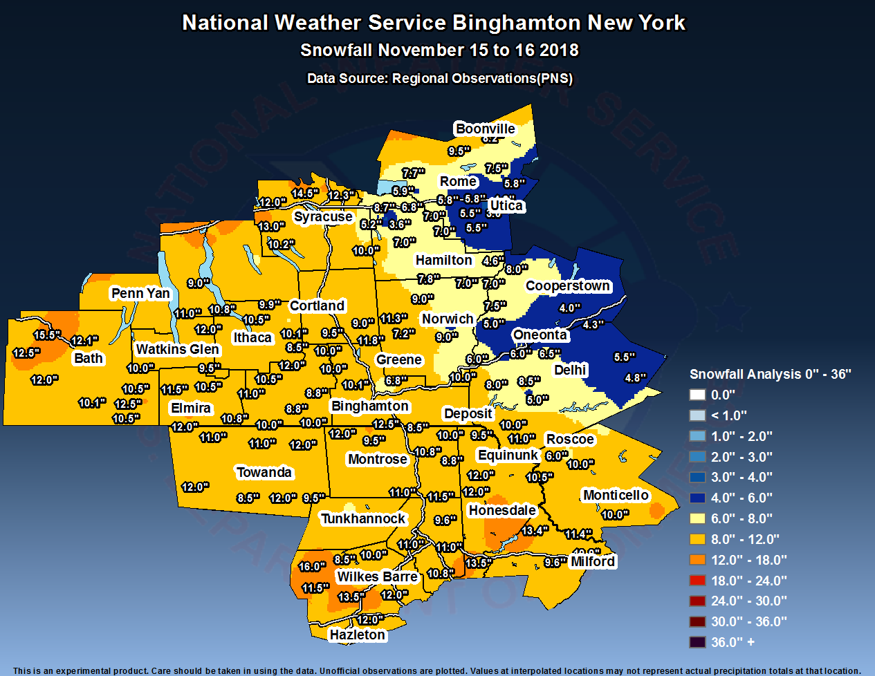 Snowfall amounts across the area.
