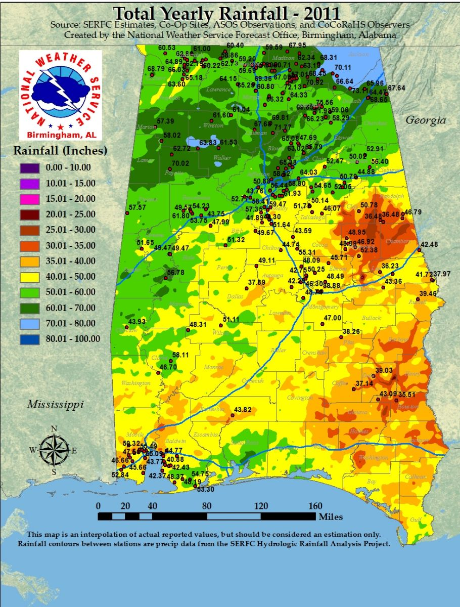 Annual Rainfall Totals for Alabama - 2011 on annual sunshine map, temperature map usa, annual temperature map united states, annual precipitation by state, climate map usa, precipitation map usa, electricity map usa, annual humidity map usa, drought map usa, annual snow map usa, monthly rainfall map usa, average rainfall map usa, annual precipitation map, area map usa, water resources map usa, seasonal rainfall map usa, land cover map usa, rainfall in usa, winter map usa, snowfall map usa,