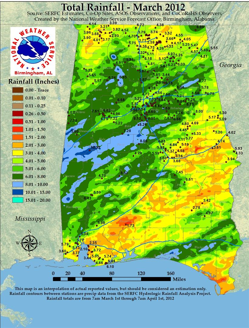 Rainfall for Jan 2012