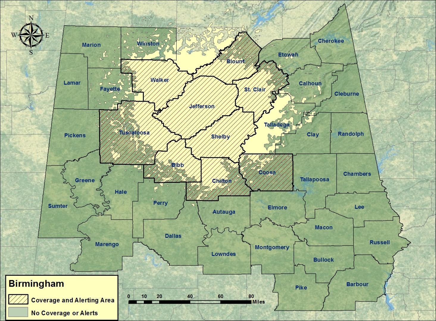 Birmingham Transmitter Coverage Map
