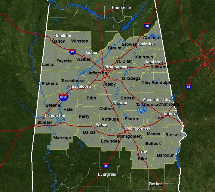 About The National Weather Service Office In Birmingham - Us weather service map