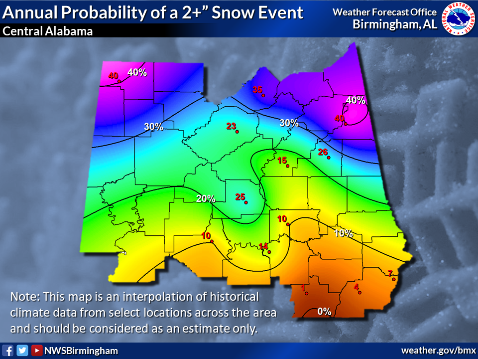 "Annual Probability of a 2+"" Snow Event"