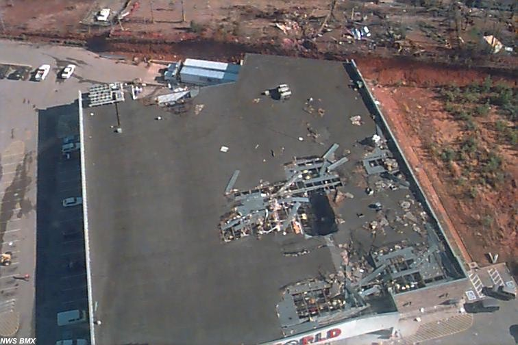Areal view of Food World building damage