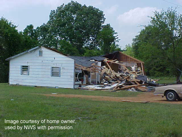 Damage to home in Dancy, AL