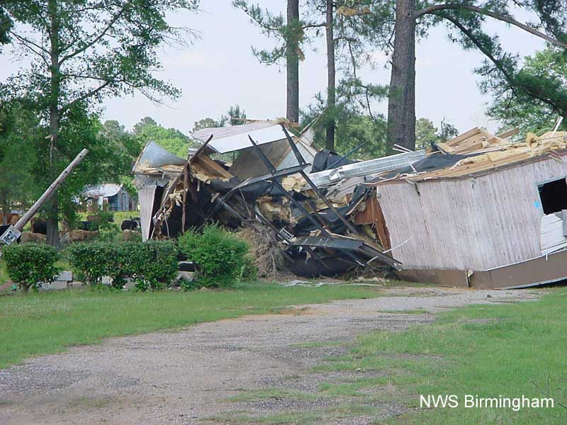 Image of mobile home damaged by falling tree