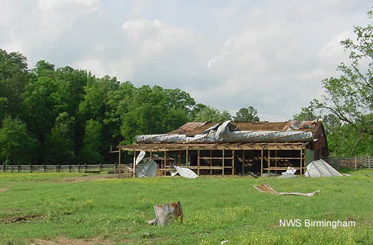 Damage to a barn