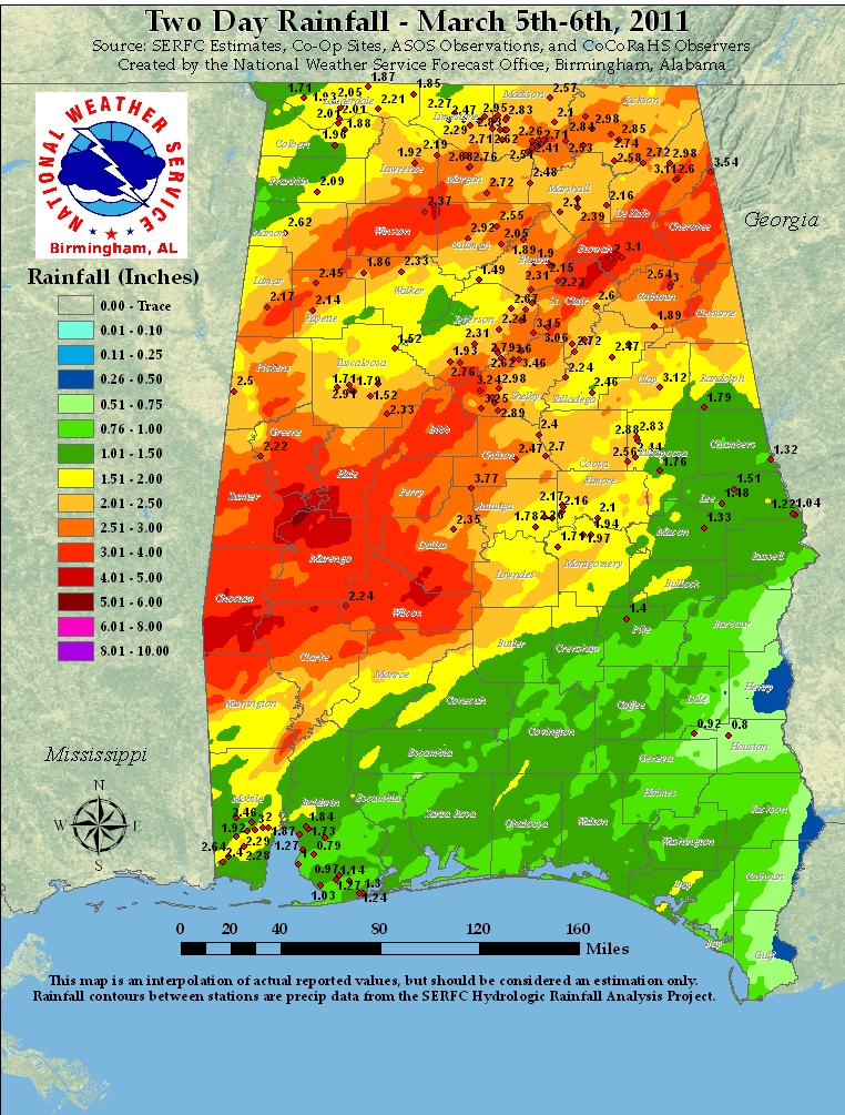 Rainfall totals for March 5th, 2011