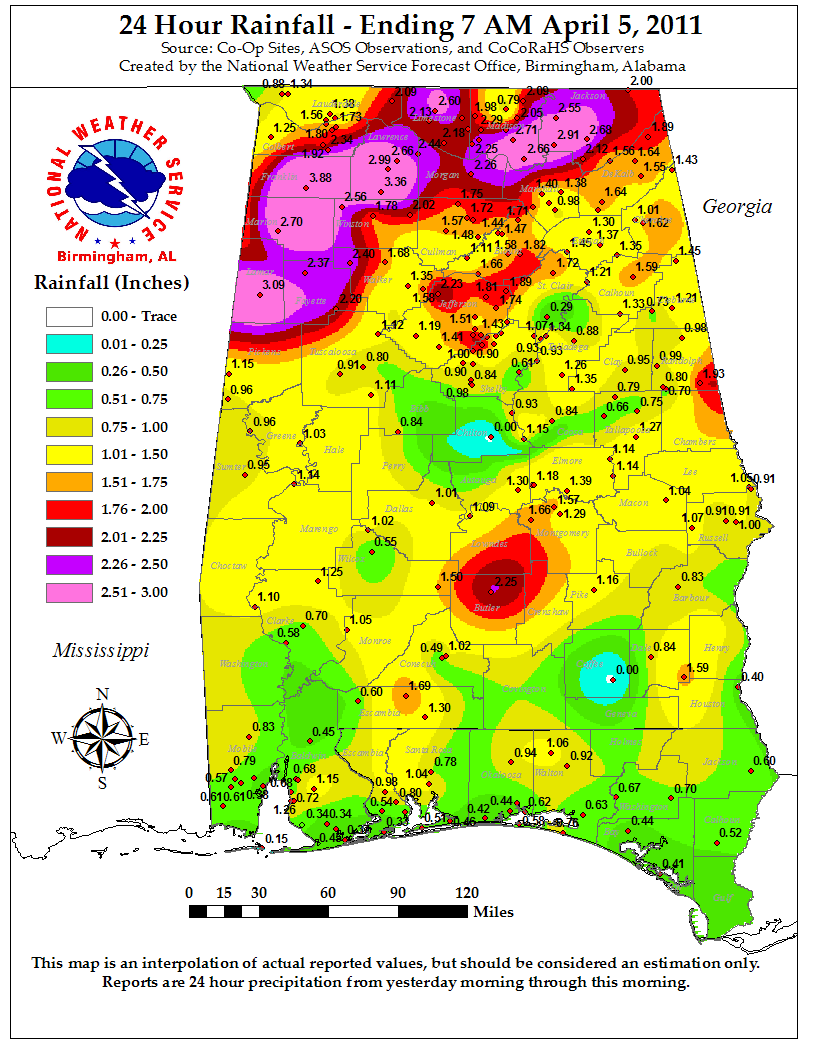 Rainfall totals for April 4th, 2011