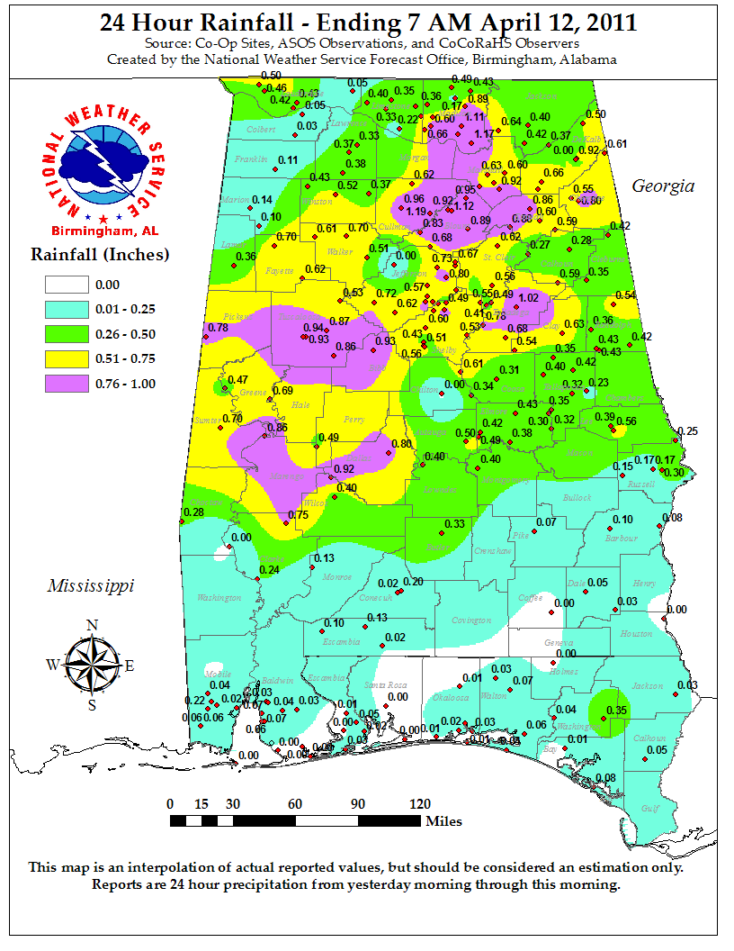 Rainfall totals for April 11th, 2011