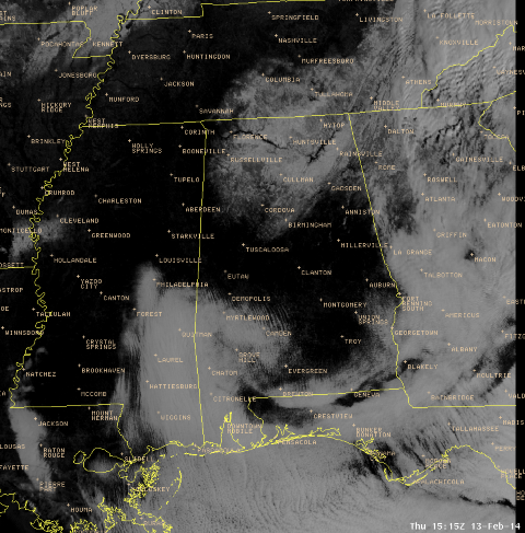 Visible Satellite at 15Z on February 13th