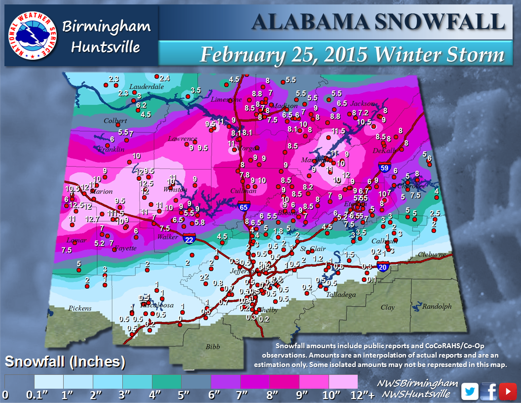 Preliminary Snowfall Totals