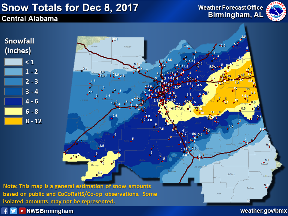 Central Alabama Snow Totals