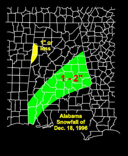 Snowfall amounts across parts of Alabama.