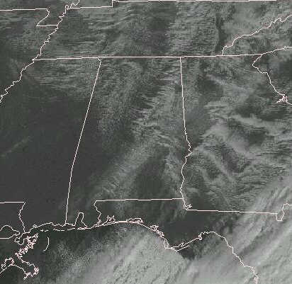 GOES-8 Visible Satellite Image from Dec. 19, 1996 showing snow band across southern Alabama.