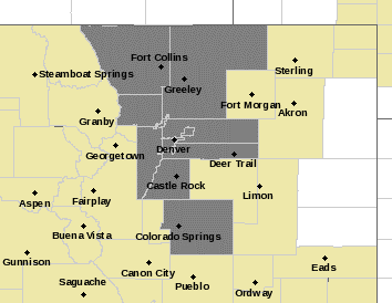 Image of NWS website depicting Air Quality Alert areas in gray.